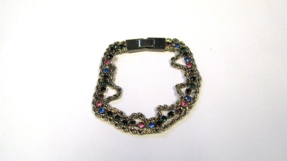 Vintage Multi Colored Rhinestone Rope Chain Bracelet in Gold tone