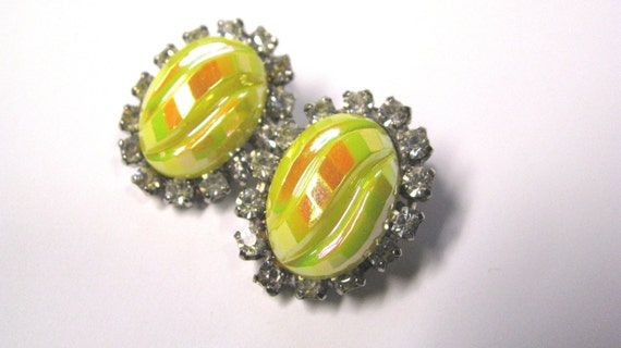 Vintage Oval Yellow Carnival Glass Rhinestone Clip on Earrings, Unusual, Silver tone Metal