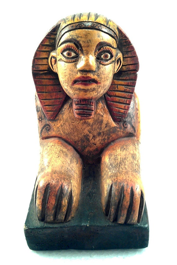 PRICE REDUCED!  Carved Wooden Egyptian Sphinx from Guatemala