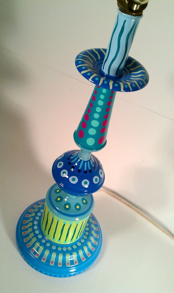 Hand Painted Table Lamp 003 Fun Funky Whimsical And Crazy