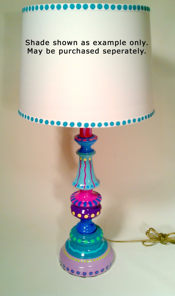 Hand Painted Table Lamp 007 Fun Funky Whimsical And Crazy