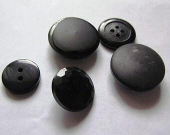 Black Buttons, Set of Five Vintage Buttons