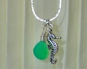 Aqua Chalcedony Briolette and Seahorse Necklace