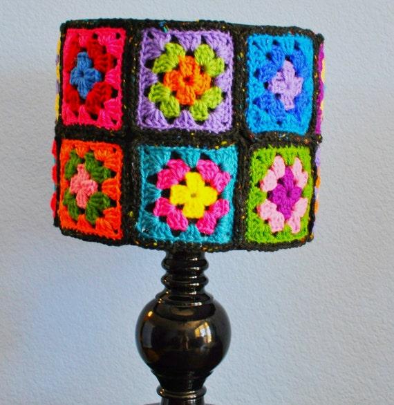 Granny Square Crochet Lamp Shade Handmade Funky & Unique