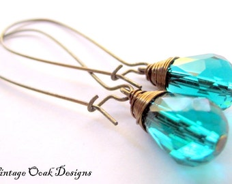 Peacock Teal Swarovski Crystal Earrings, Long Crystal Earrings, Bridal Jewelry, Teal Bridal Jewelry, Long Teal Earrings, Crystal Earrings