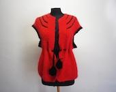 Crocheted Wool Jacket Vintage Handmade Clothing Black&Red Pompoms Vest