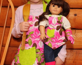 Girl Apron and Doll Matching Set in Pink Leaves