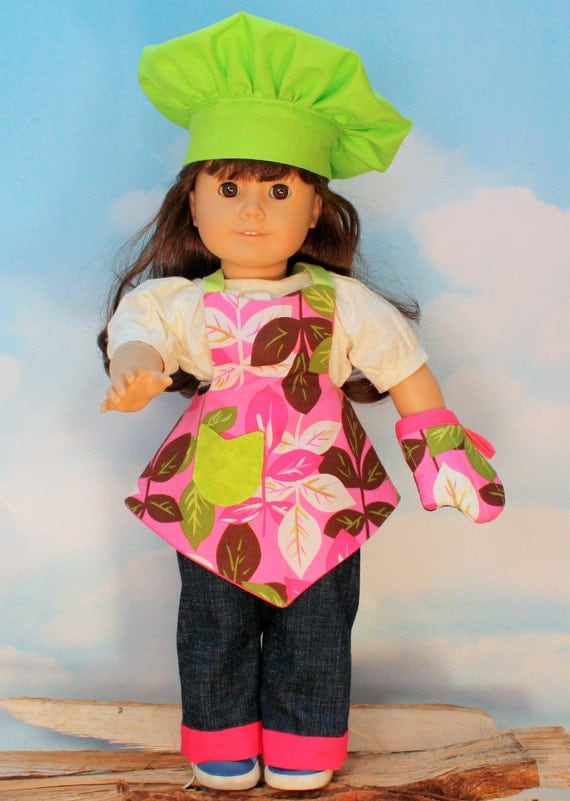 American Girl Doll Apron, Chef Hat and Oven Mitt in Pink Leaves