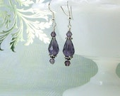 Swarovski crystal earrings, purple crystals, Bali silver and sterling earwires..