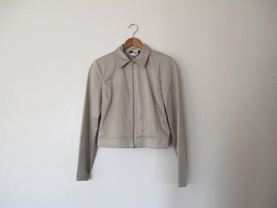 1990s minimalist sheath shiny zip up jacket cardigan Small Medium