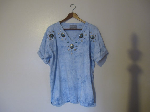 light blue acid wash v neck tshirt silver studded turquoise XS S M L XL one size