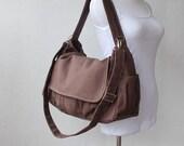 Sale SALE Sale - Cinnamon, School Bag, Shoulder Bag, Messenger Bag, Women, Canvas School bag, crossbody bag, Gift for Her,  40%  Off