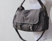 Messenger Bag 40% - New Year SALE - Diaper Bag, Grey, Laptop Bag, School Bag, Shoulder Bag,  Women, For Her, Gift, Canvas Messenger Bag