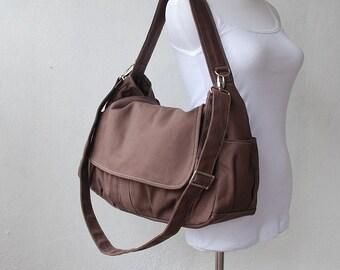 Christmas in July SALE - Cinnamon, School Bag, Shoulder Bag, Messenger Bag, Women, Canvas School bag, crossbody bag, Gift for Her,  40%  OFF
