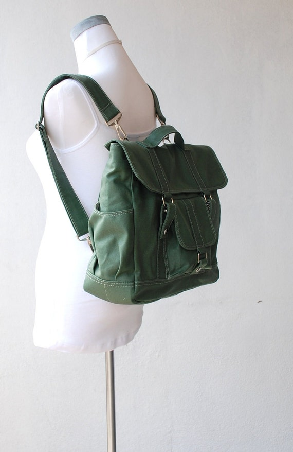 Pico2 Canvas Backpack in  Wax  Army Green Unisex / Laptop / Shoulder Bag / Satchel / Rucksack / Messenger Bag / Diaper Bag / School