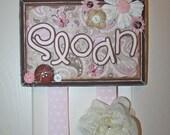 Bow Holder, Custom Bow Holder,  Pink Cafe Latte Boutique Bow Holder