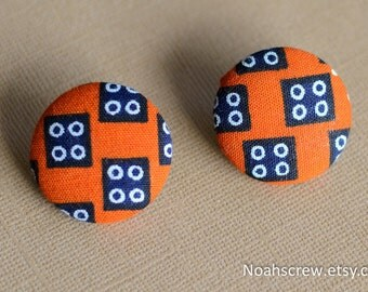 Hypoallergenic Earrings: Dice Ankara african wax fabric button earrings, orange, blue and white