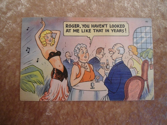 Funny Married Couple Post Card 1940s