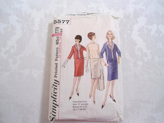 Simplicity 1964 Suit Pattern 5577 Jackie O style