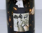 SALE-----Vintage LADY Collage Recycled Wine Bottle Accent Lamp/Light-Great Gift Idea