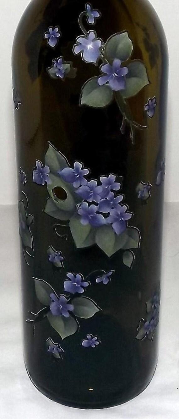 VIOLETS Recycled  Wine Bottle Incense Burner-Great Gift Idea