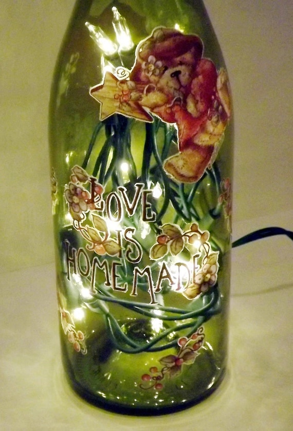 SALE~~~LOVE Is Homemade Recycled Wine Bottle Accent Lamp/Light-GREAT Gift Idea