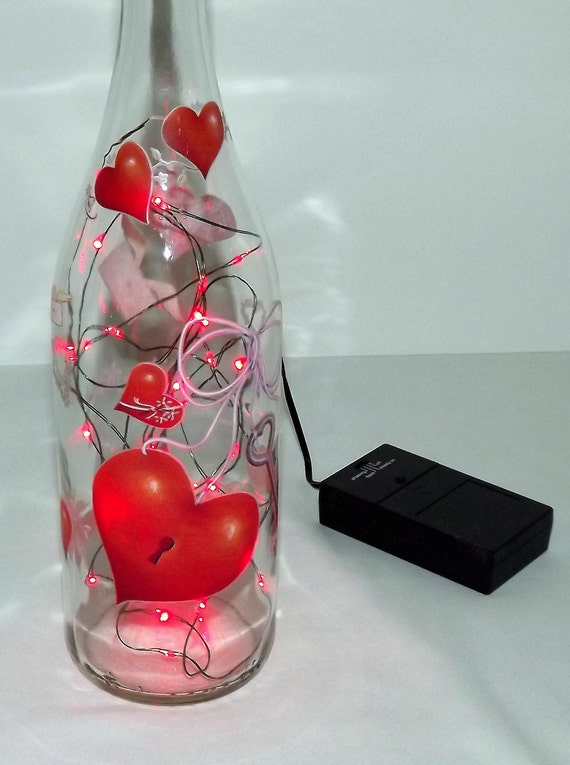 Key To Your Heart Bar/Table Bottle LED Red Lights Accent Lamp/Light-Wonderful Gift Idea