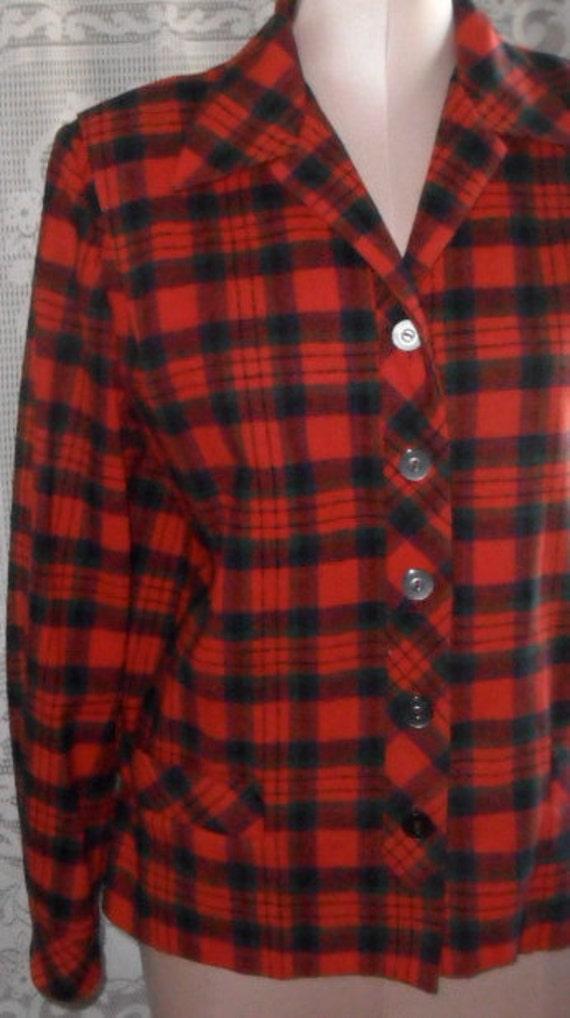 Vintage Wool Jacket Plaid Red and Black by Bobbie Brooks Calgary 49er Style