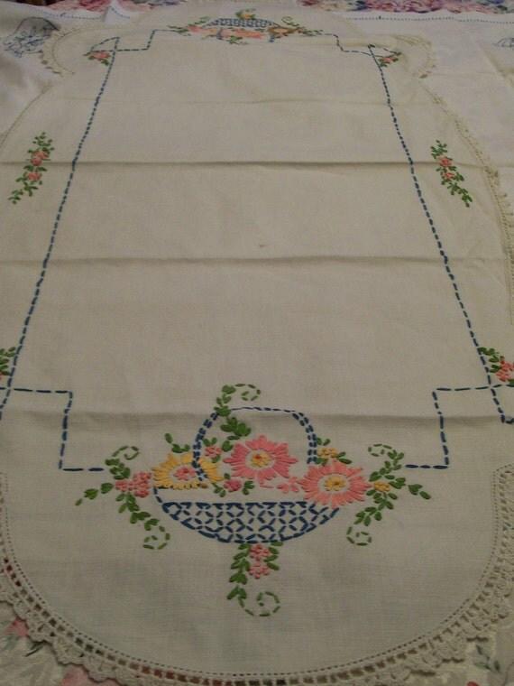 Embroidery  Dresser Scarf  Vintage Table Runner Flower Baskets Crochet Edge