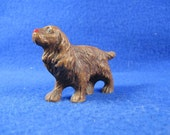 Vintage Small Cute Brown Springer Spaniel or Cocker Syrocco Syroco Puppy Dog Figure