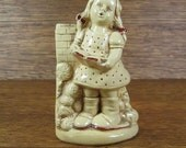 Vintage Little Girl Singing Songs by Fireplace Chalkware Coventryware Figurine Wall Hanging