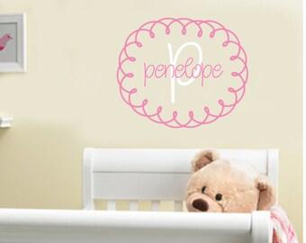 Baby Girl Monogram Wall Decal Vinyl Nursery Decor