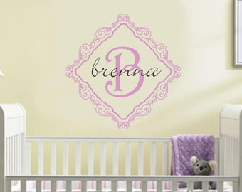 Baby Girl Name Wall Decal Nursery Monogram Boutique Vinyl Sticker