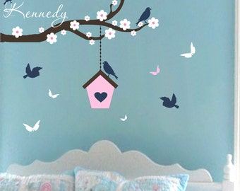Wall Decals Baby Girl Nursery Branch Birdhouse Butterfly Wall Decal Nursery Name Vinyl Wall Stickers Decals For Kids