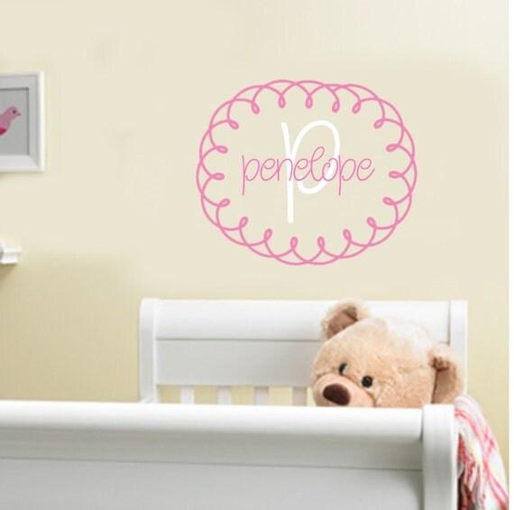 Etsy Girl Nursery Wall Decor : Items similar to baby girl monogram wall decal vinyl