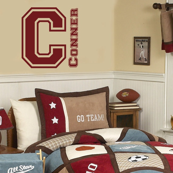 Items similar to name wall decal kids sports decor sports for Sports decals for kids rooms
