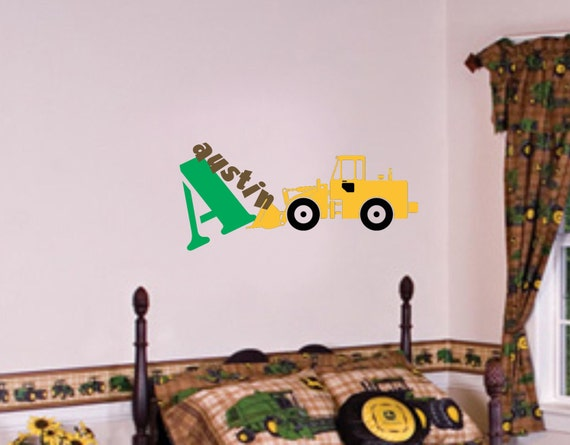 Tractor Wall Decal Farm Decals Boy Name Wall Decal Baby Boy Monogram Decals Nursery Farm Theme Farm Decor Kids Bedroom Decals Toy Room Decor