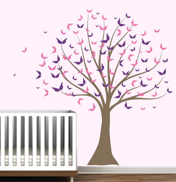 Nursery Butterfly Tree Wall Decal Baby Girl Decor Wall Sticker