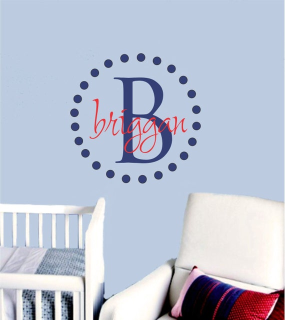 Polka Dot Nursery Monogram Wall Decal Baby Boy Name Wall Decal Girls Name Decals Vinyl Sticker Decor Circles Wall Stickers Kids Decals