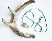 spring floral necklace no. 3: vintage hand-painted seafoam floral and ivory wood beads on turquoise deerskin leather lace