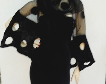 Long white hand-felted silk scarves, shawl - black