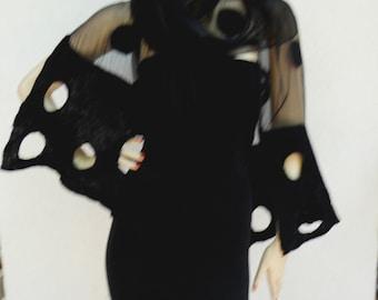 Long white hand-felted silk scarves, shawl - black