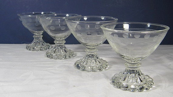RESERVED 4 CAROL Vintage Sherbet glasses Candlewick Champagne Bubble Boopie Etched Set/4