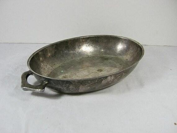 SALE  Vintage HOTEL SILVERPLATE Dish Tarnish Patina Oval Bowl Silver Plate