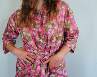 SALE--20% OFF Listing Price--Early 60s Pink Floral Print House Coat with Rhinestone Buttons--Size Med/Lg