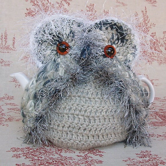 Owl Tea Cozy  -  Charcoal Grey  and white hand crocheted for large teapot