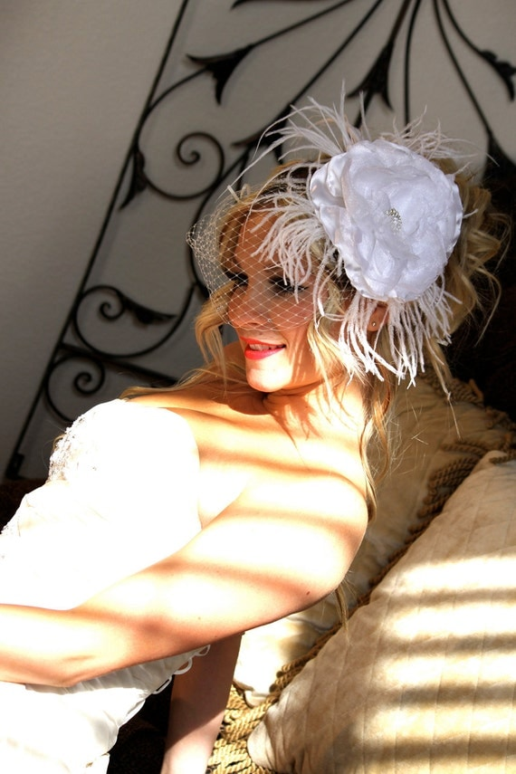 Bridal Birdcage Fascinator Headpiece with Handcrafted Silk Flower and Feathers by Las Vegas Veils