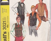 70's Sewing Pattern McCalls 3021 Men's set of vests Size medium Chest 38-40 Complete