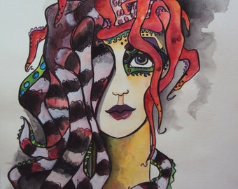 """Red """"Striped Octopus"""" Watercolor & Acrylic Mermaid Portrait"""