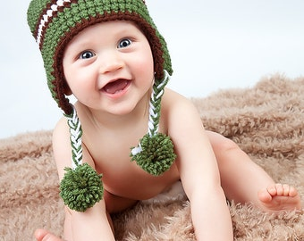Camo Green and Brown Stripe Earflap Beanie